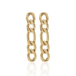 Silk And Steel Figaro Earrings Gold Plated Stainless Steel_0
