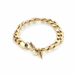 Silk And Steel Figaro Bracelet Gold Plated Stainless Steel_0
