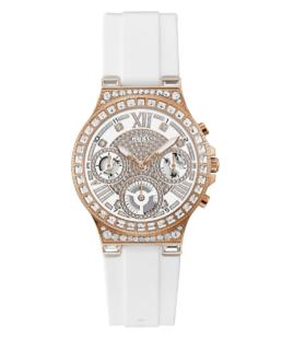 Guess Stone Set Rose Gold Tone Case White Silicone Watch_0