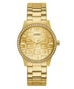 Guess Stone Set Gold Tone Case Gold Tone Stainless Steel Watch_0