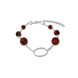 The Red Mookiate And Its Beautiful Warm Tones Features Throughout This Bracelet. Paired With The Sterling Silver Chain, Silver Balls And Silver Oval. The Bracelet Is 19.5Cm With A 3Cm Extender Chain._0