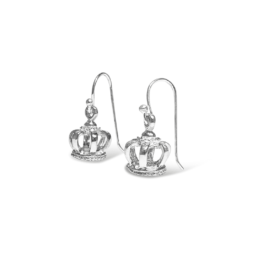 The small crown earrings are crafted from sterling silver featuring a small crown. These earrings represent strength and bravery._0