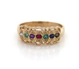 9ct Yellow Gold Dearest Ring Multi Coloured Stones_0