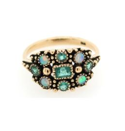 9ct yg emerald and opal cluster ring_0