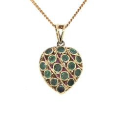 9ct Double Sidded Emerald set & Ruby Set Heart filigare Pendant_0
