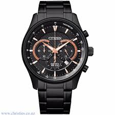 Citizen Black and Rose Gold Chronograph Watch_0