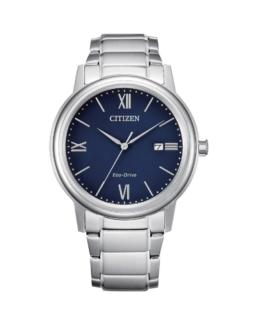 Citizen Eco-Drive Gents Silver and Blue Analogue 100mtr Water Resistant Watch_0