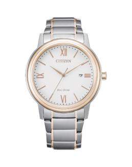 Citizen Eco-Drive Gents Silver and Rose Gold Analogue 100mtr Water Resistant Watch_0