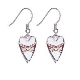 Fabuleux Vous Cross My Heart Necklace Sterling Silver Rose Gold Plate Earrings_0
