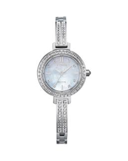 Citizen Eco-Drive Ladies Silver Analogue with Stones_0