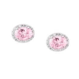Stirling Silver Light Pink Oval Cubic Zirconia Surround Earrings_0