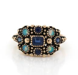 Gold Sapphire and Opal Antique Style Ring 9ct_0