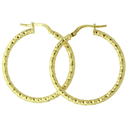 Gold Textrued Hoops Silver Filled 9ct_0