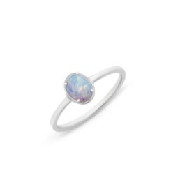 Silver Created Opal Ring_0