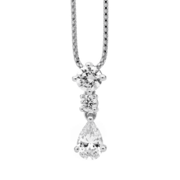 Silver Pear Drop CZ Pendant with Chain_0