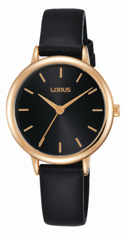 Black and Rose Gold Angalogue Leather Strap Watch_0