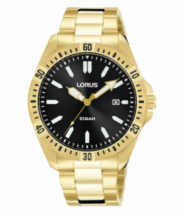 Gold Gents Black Face Analoge 100mtr Watch Date_0