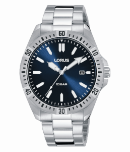Gents blue Dial Sports 100mtr Stainless Angaloge Watch with Date_0