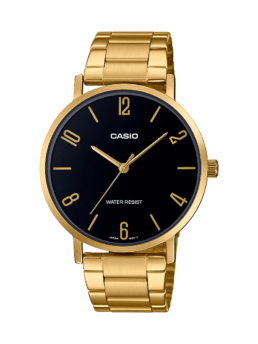 Casio Gold and Black Analogue Watch_0