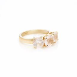 Rose Quarts 3 Stone Ring Gold Plated_0