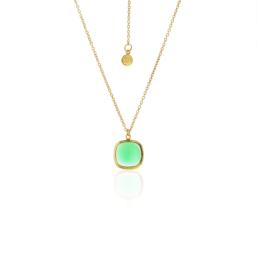Heritage Green Onyx Cabochon Necklace Gold Plated Sterling Silver_0