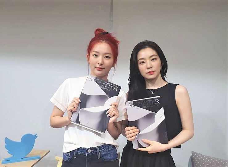 """Instagram photo of the KPOP group Red Velvets sub-unit of Irene and Seulgi promoting their title song """"Monster"""" in 2020."""