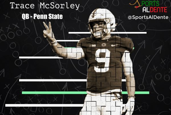 Trace McSorley NFL Draft Profile. Photo Credit: Matthew O'Haren | USA Today Images | Sports Al Dente Illustration