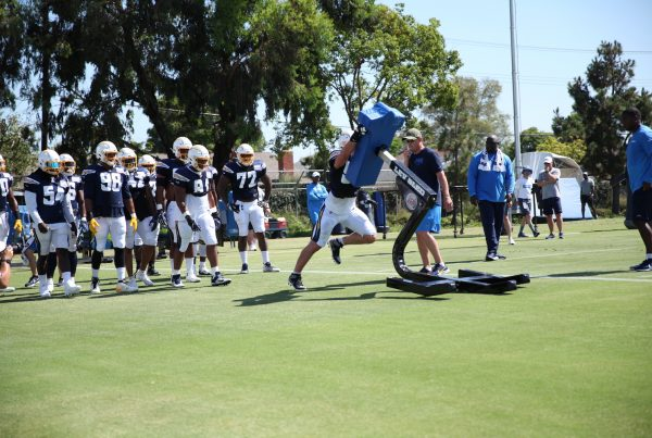 Los Angeles Chargers Defense Practices At Training Camp. Photo Credit: Ryan Dyrud | Sports Al Dente
