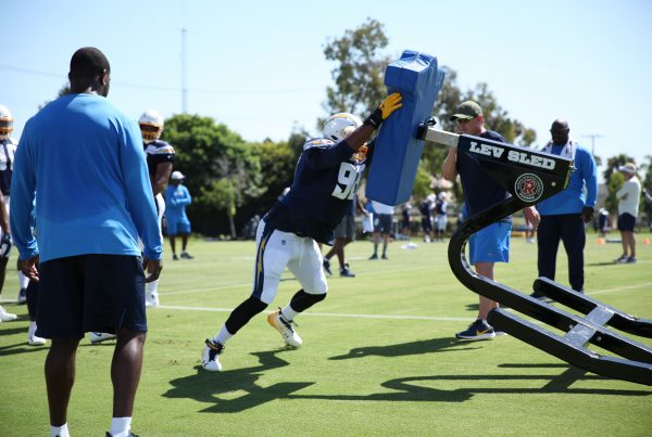 Chargers Players To Watch. Los Angeles Chargers Defensive End Isaac Rochell During 2019 Training Camp. Photo Credit: Ryan Dyrud | Sports Al Dente