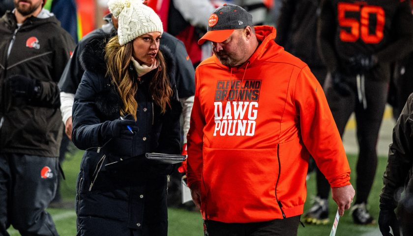 Former Cleveland Browns Head Coach Freddie Kitchens And Reporter Erin Andrews. Photo Credit: Erik Drost | Under Creative Commons License