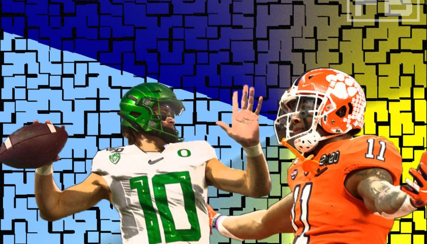 An LAFB Network Graphic. Photo Credit: Justin Herbert - Mark J. Rebilas - USA Today Sports | Isaiah Simmons - USA Today Sports