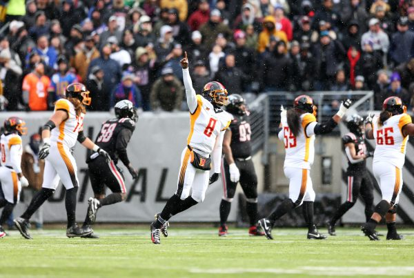 EAST RUTHERFORD, NJ - FEBRUARY 29: Josh Johnson #8 of the LA Wildcats celebrates during the XFL game against the New York Guardians at MetLife Stadium on February 29, 2020 in East Rutherford, New Jersey. (Photo by Rob Tringali/XFL via Getty Images)