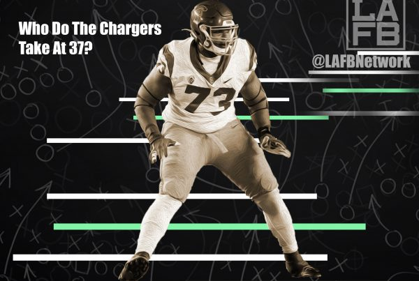 Chargers 2nd Round Pick, Austin Jackson? Photo Credit: Austin Jackson - Joe Robbins | Getty Images | An LAFB Network Graphic