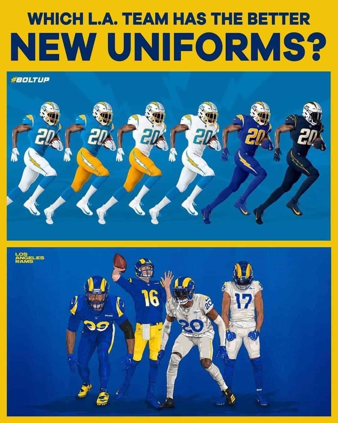 Comparing The Rams And Chargers Uniforms Lafb Network