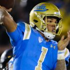UCLA Bruins quarterback Dorian Thompson-Robinson (1) attempts a pass in the fourth quarter; Cal at UCLA, November 30, 2019, Los Angeles, CA. Photo Credit: Steve Cheng | Under Creative Commons License