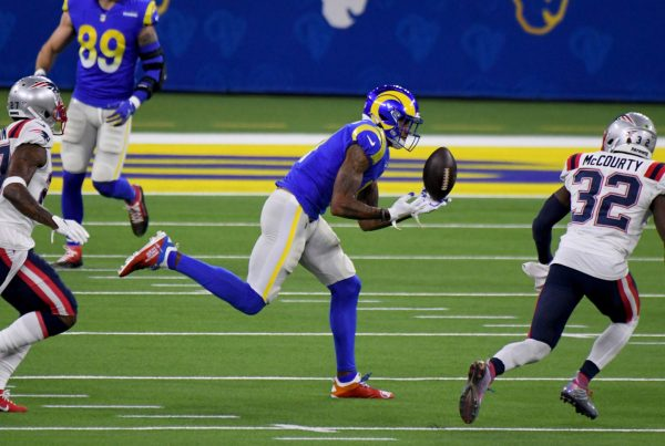 Wide receiver Josh Reynolds #11 of the Los Angeles Rams can???t reach a pass against the New England Patriots in the first half of a NFL football game at SoFi Stadium in Inglewood on Thursday, December 10, 2020. (Photo by Keith Birmingham, Pasadena Star-News/SCNG)