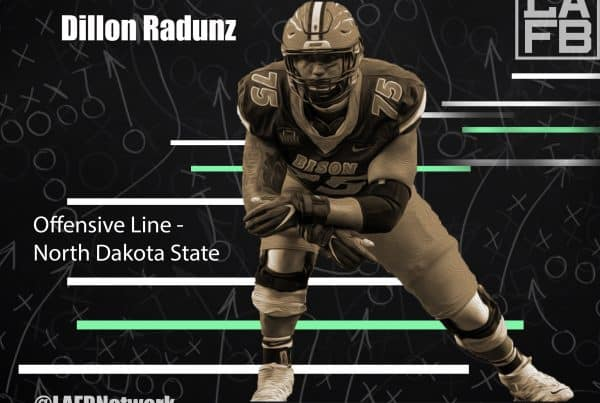North Dakota State Offensive Lineman Dillon Radunz. Photo Credit: USA Today | LAFB Network Graphic