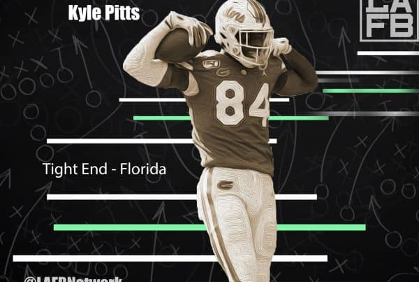 Florida Tight End Kyle Pitts. Photo Credit: Oil Klement | USA Today Sports | LAFB Network Graphic.