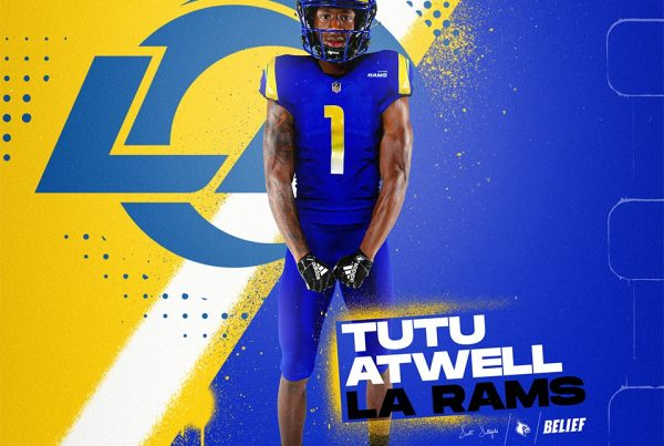 Los Angeles Rams Wide Receiver Tutu Atwell. Photo Credit: Louisville Football Twitter