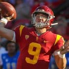 USC Trojans quarterback Kedon Slovis (9) passes to USC Trojans wide receiver Drake London (15) for a 32-yard touchdown pass in the third quarter; UCLA at USC. November 23, 2019, Los Angeles, CA