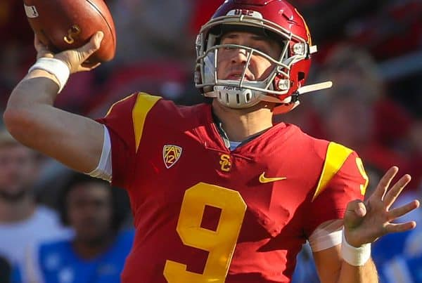 USC Trojans quarterback Kedon Slovis (9) passes to USC Trojans wide receiver Drake London (15) for a 32-yard touchdown pass in the third quarter; UCLA at USC. November 23, 2019, Los Angeles, CA. Photo Credit: Steve Cheng | Bruin Report | Creative Commons License