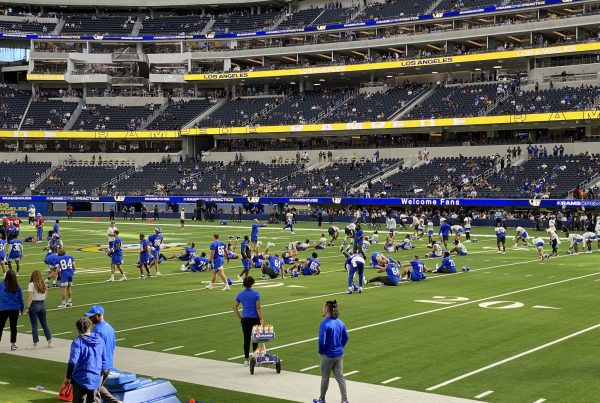 The Los Angeles Rams Warmup During Open Practice At SoFi Stadium. Photo Credit: Ryan Dyrud | LAFB Network