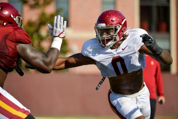 The USC Trojans Football team completes its first week of fall camp in preparation for the 2021 season. Photo Credit: John McGillen | USC Athletics