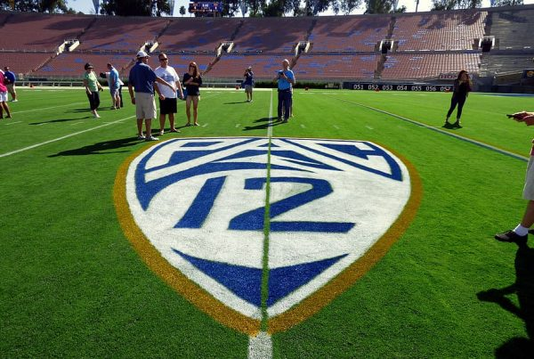 The PAC12 Logo On The Field Of The Rose Bowl. Photo Credit: PXFuel