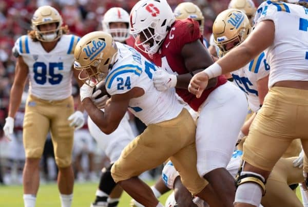 UCLA Running Back Zach Charbonnet Runs The Football Against Stanford. Photo Credit: Stan Szeto | USA Today Sports | UCLA Athletics
