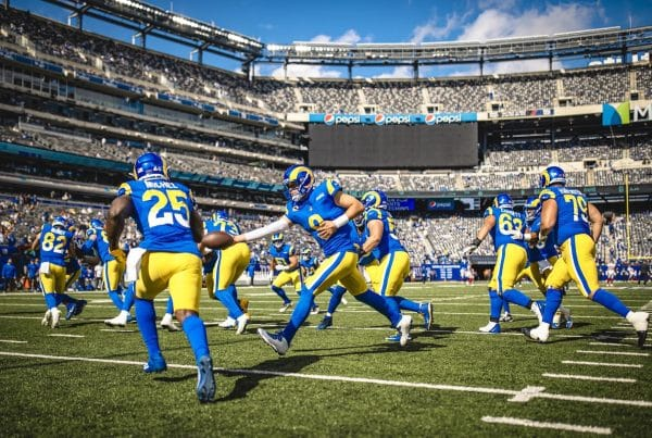 Los Angeles Rams Warmup At MetLife Stadium To Face The New York Giants. Photo Credit: Brevin Townsell | LA Rams