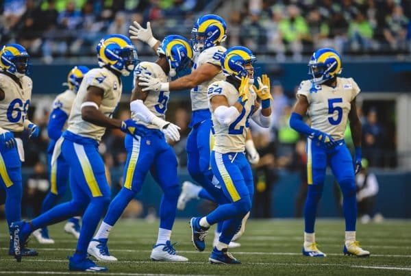 The Los Angeles Rams Defense Takes The Field Against The Seattle Seahawks. Photo Credit: Brevin Townsell | LA Rams