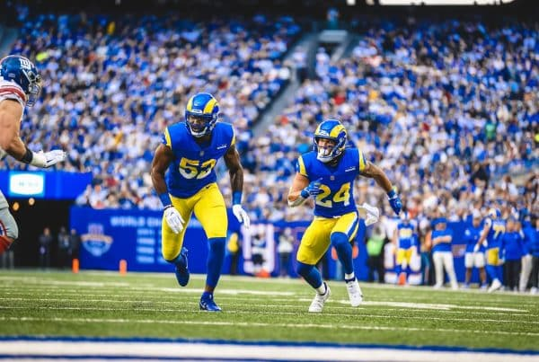 Terrell Lewis And Taylor Rapp During The Los Angeles Rams Matchup With The New York Giants. Photo Credit: Brevin Townsell | LA Rams