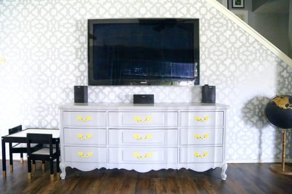 how to make a DIY tv stand from a dresser