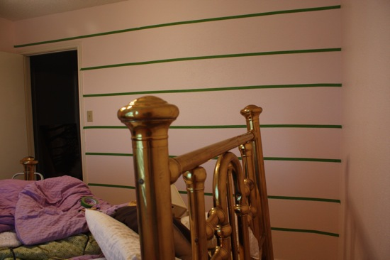 using painters tape to make striped walls